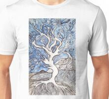 Tree – In Black, White, and Blue Ink Unisex T-Shirt