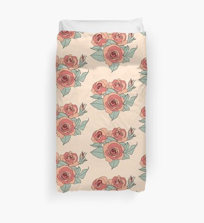Pastel Pink Red Roses Duvet Cover
