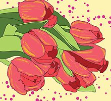 Pastel Pink Tulips and Greenery by pjwuebker