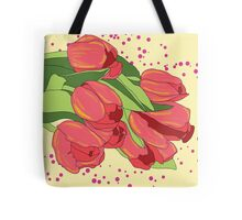 Pastel Pink Tulips and Greenery Tote Bag