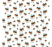 seamless pattern with flying bees on the white background Photographic Print