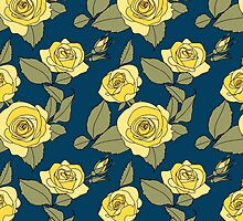 Yellow Roses on Blue by pjwuebker
