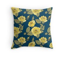 Yellow Roses on Blue Throw Pillow