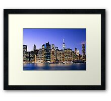 NY City Blue Framed Print