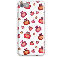 Seamless pattern with gifts, hearts on the white background iPhone Case/Skin