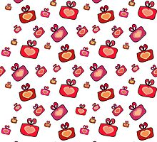 Seamless pattern with gifts, hearts on the white background by Ann-Julia