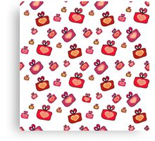 Seamless pattern with gifts, hearts on the white background Canvas Print