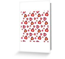 Seamless pattern with gifts, hearts on the white background Greeting Card