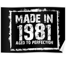 Made In 1981 Aged To Perfection - Funny Tshirts Poster