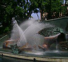 Captain Cook Memorial Fountain by reflector