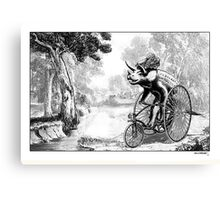 Triceratops on a Tricycle Canvas Print