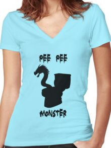 Pee Pee Monster (with text) Women's Fitted V-Neck T-Shirt