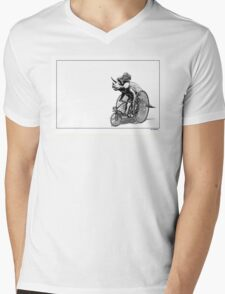 Triceratops on a  Tricycle Mens V-Neck T-Shirt