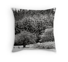 White Branches Mono Throw Pillow