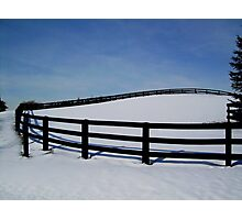A Curved Fence in Winter Photographic Print