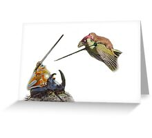 weasel riding woodpecker versus frog riding beetle Greeting Card