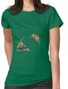 weasel riding woodpecker versus frog riding beetle Womens Fitted T-Shirt
