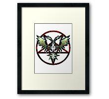 EVIL WINGS WITH PENTAGRAMS - red/grey Framed Print