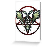 EVIL WINGS WITH PENTAGRAMS - red/grey Greeting Card