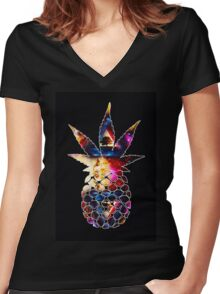 u/Idahotbox's trippy r/trees design Women's Fitted V-Neck T-Shirt