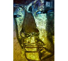Buddha Face blue yellow Photographic Print