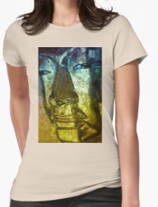 Buddha Face blue yellow Womens Fitted T-Shirt