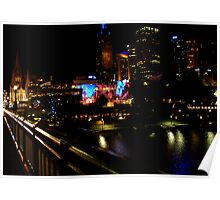 Shining buildings around Yara River, Melbourne Poster