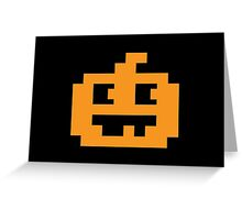 8 Bit Pixel Jack O' Lantern Pumpkin Head Greeting Card