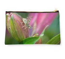 Cricket on a Princess Lily flower bud Studio Pouch
