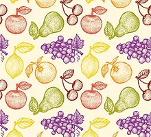 Retro fruits pattern by SIR13