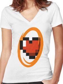 Portal Lover ! Orange Women's Fitted V-Neck T-Shirt