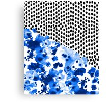 Monroe - India ink, indigo, dots, spots, print pattern, surface design Canvas Print