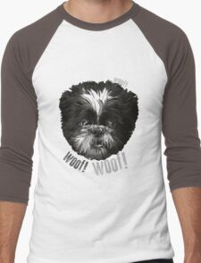 Shih-Tzu Says Woof! Woof! Men's Baseball ¾ T-Shirt
