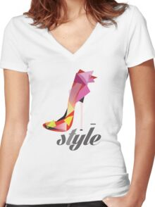 Style high heels Women's Fitted V-Neck T-Shirt