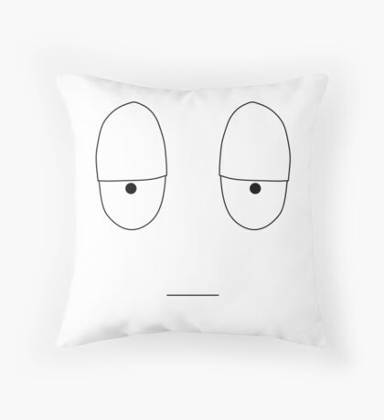 Simple Mood Smiley Face - Reluctant (T-Shirt, Tote Bag, etc) Throw Pillow