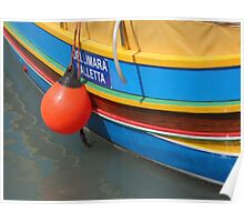 Colourful Wooden Luzzu Striped Fishing Boat in Malta Harbour Poster