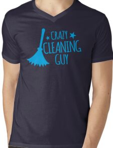 Crazy Cleaning Guy with feather duster Mens V-Neck T-Shirt