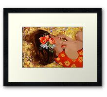 Girl on Yellow Quilt Framed Print