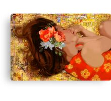 Girl on Yellow Quilt Canvas Print