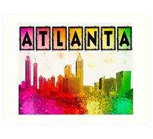 Atlanta Skyline In Living Color Art Print