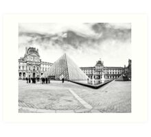 Landmark Louvre Museum Courtyard - Black and White Art Print