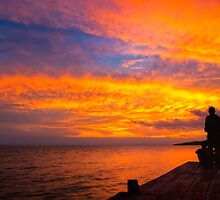 Fiery Sunset Over Lake Nicaragua by Mark Tisdale