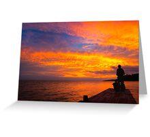Fiery Sunset Over Lake Nicaragua Greeting Card