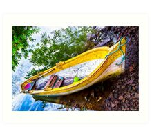 Old Weathered Boat On A Tropical Island Art Print