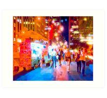 Manhattan By Street Lights Art Print