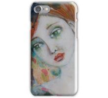 Girl with falling petals iPhone Case/Skin