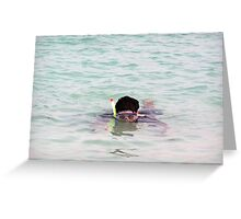 Snorkelling in the lagoon inside the coral reef in the Lakshadweep Island in India Greeting Card
