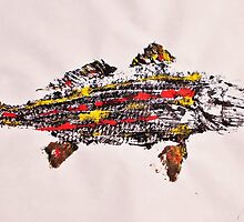 Gyotaku fish rubbing, Florida Redfish, Surreal color by alan barbour