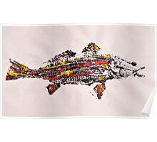 Gyotaku fish rubbing, Florida Redfish, Surreal color Poster