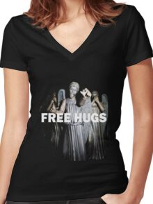Free Hugs by an Angel Women's Fitted V-Neck T-Shirt